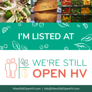 graphic for businesses to download to say that they are listed on We're Still Open HV